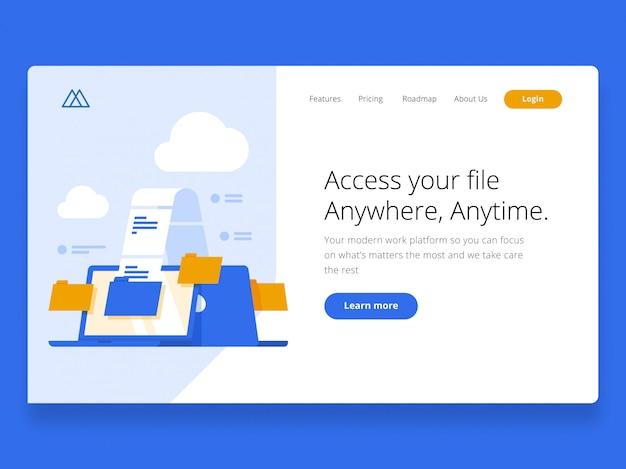 Cloud landing page held afbeelding Premium Vector