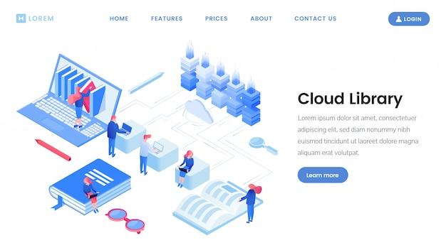 Cloud landingspagina isometrische sjabloon van de bibliotheek Premium Vector