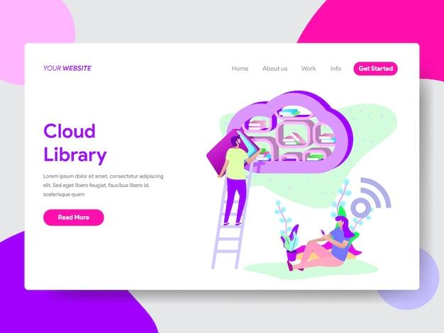 Cloud library illustratie voor webpagina's Premium Vector
