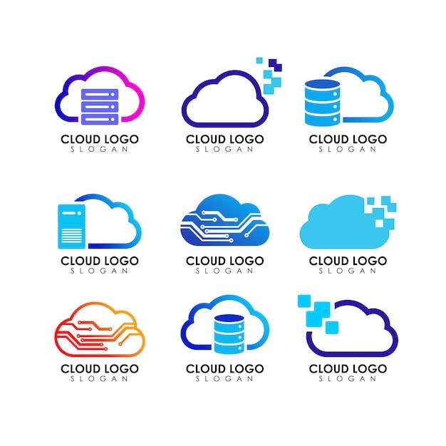 Cloud logo ontwerpsjabloon Premium Vector