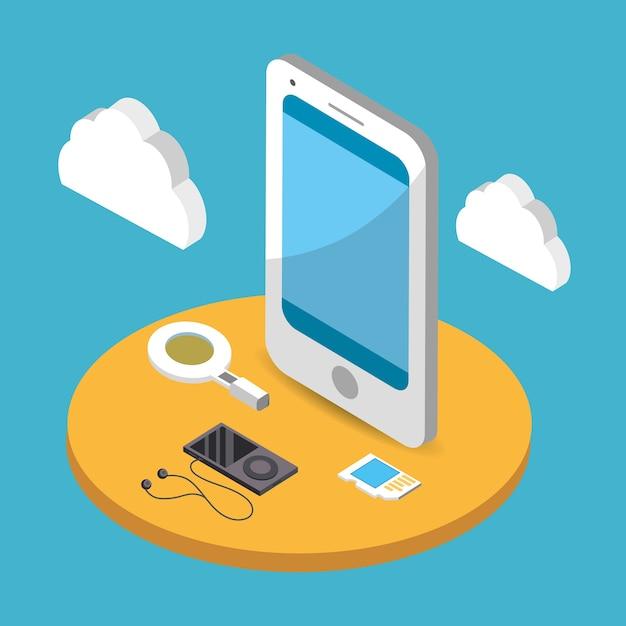 Cloud netwerk cartoon Premium Vector