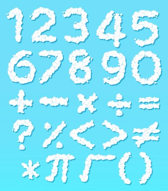 Cloud nummer lettertype en wiskundige pictogram Gratis Vector