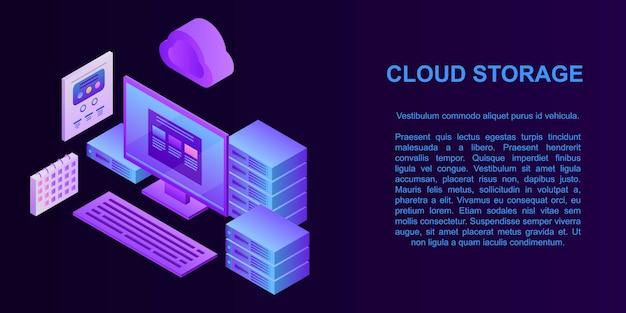 Cloud opslag concept banner, isometrische stijl Premium Vector