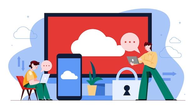 Cloud opslag concept. idee van computertechnologie en database op internet. informatie downloaden vanaf elk apparaat. illustratie Premium Vector