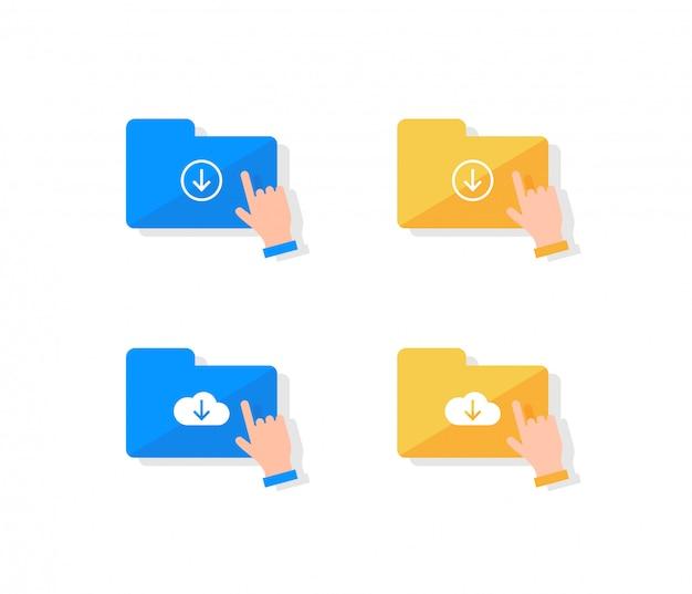 Cloud opslag icon set. Premium Vector