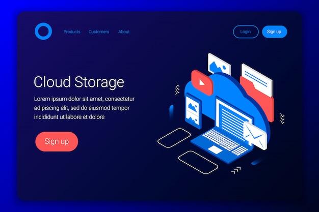 Cloud opslag isometrische concept. back-up van laptop, smartphone, foto, e-mail, video en andere bestanden. flat 3d-stijl. landingspagina sjabloon. illustratie. Premium Vector