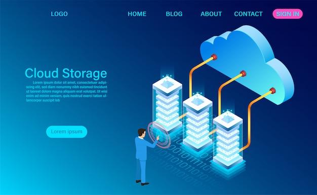 Cloud opslagtechnologie en netwerk bestemmingspagina sjabloon Premium Vector