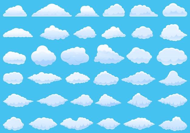 Cloud pictogrammen instellen. cartoon set van wolk vector iconen Premium Vector