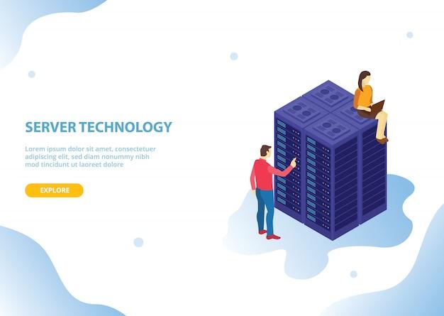 Cloud server hosting-technologie met isometrische stijl Premium Vector