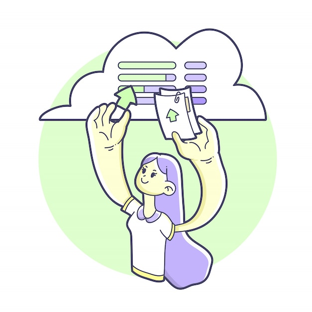Cloud server meisje bestanden uploaden Premium Vector