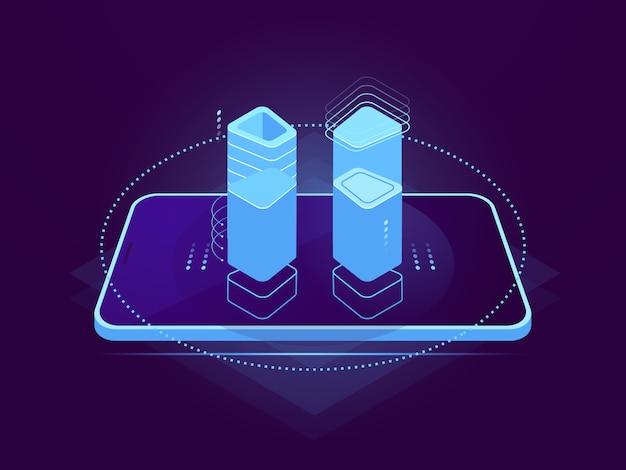 Cloud serverhosting, mobiele interface, holografisch besturingselement, cloudopslag, database op afstand Gratis Vector
