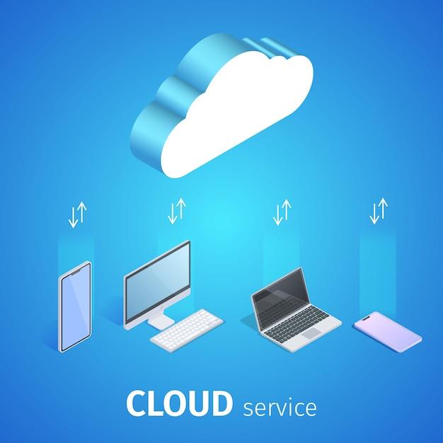 Cloud service square-banner Gratis Vector