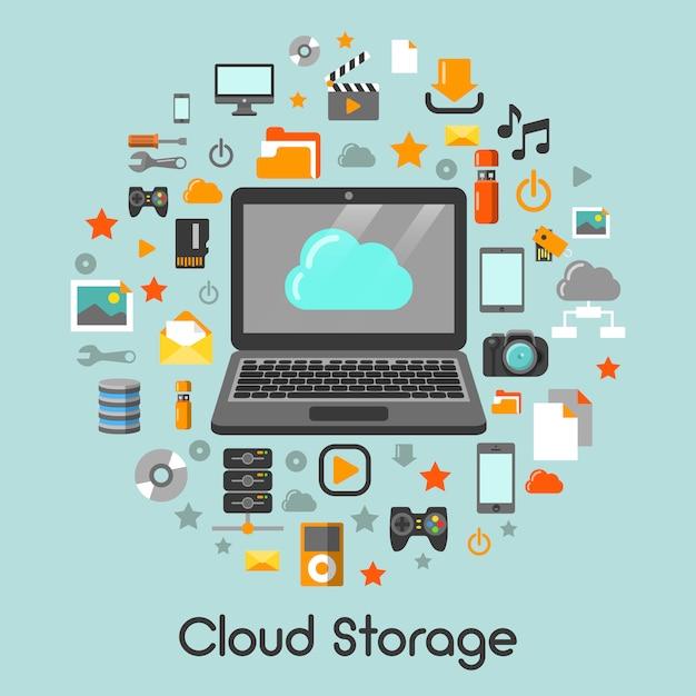 Cloud storage data technology Premium Vector
