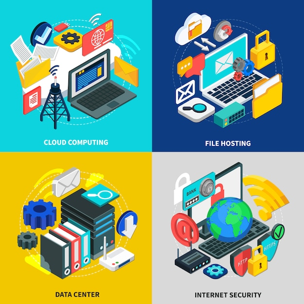 Cloud technologie samenstelling set Gratis Vector