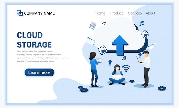Cloudopslag, digitale opslag, datacenter en digitaal netwerkconcept met karakters. Premium Vector