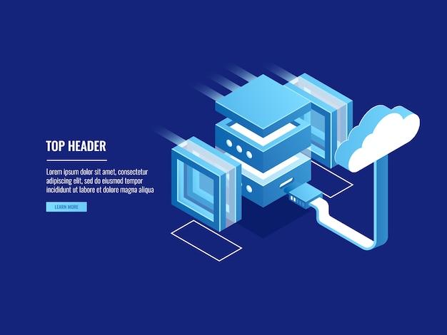 Cloudopslag, externe webserverhosting, informatiemagazijn, toegang tot bestandstoegang Gratis Vector