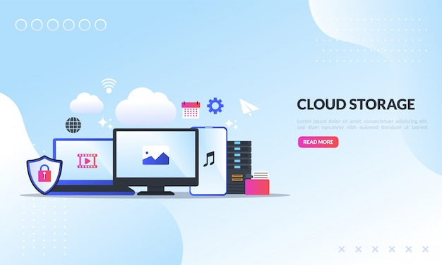 Cloudopslagtechnologie, sjabloon Premium Vector