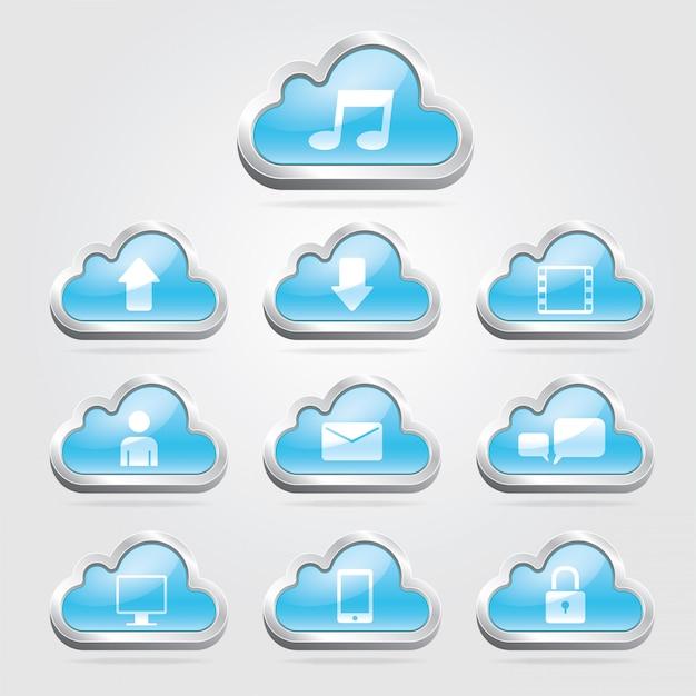 Cloudtechnologie knoppen en set. Premium Vector