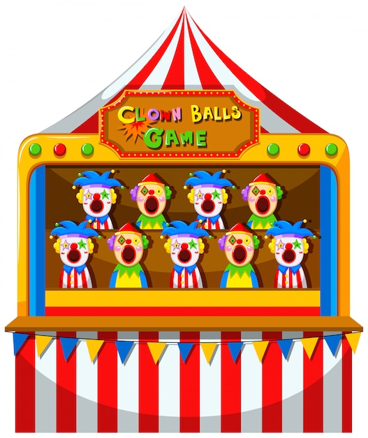 Clown-balspel in het circus Gratis Vector