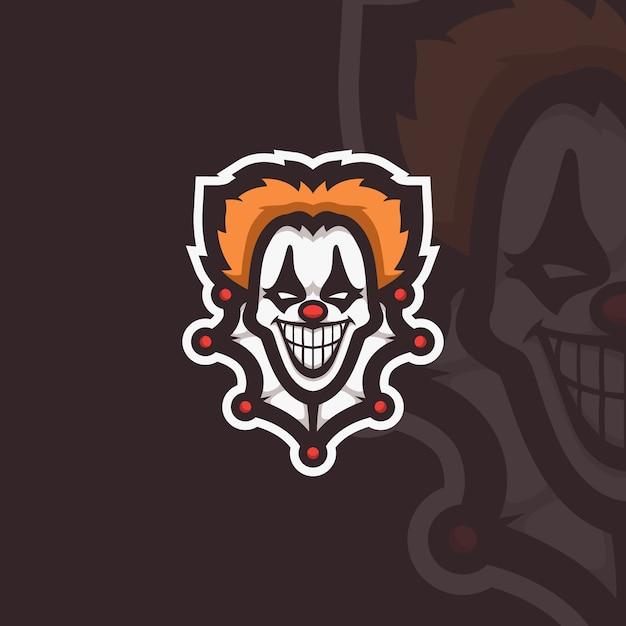 Clown esport karakter Premium Vector