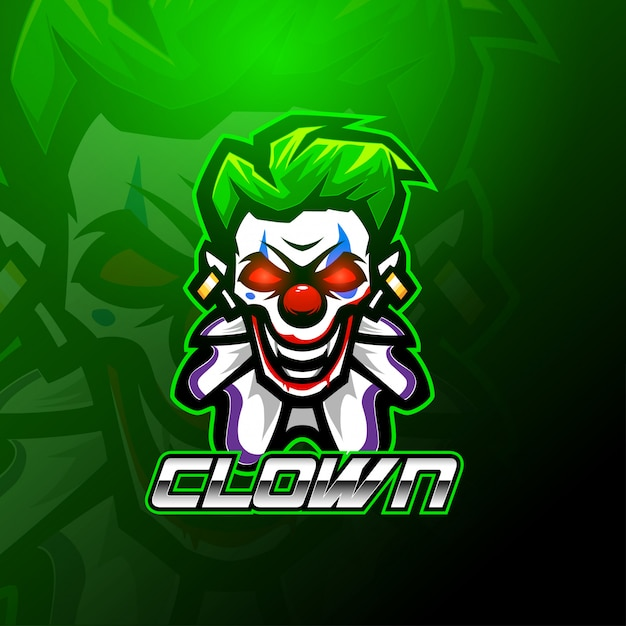 Clown esport mascotte logo sjabloon Premium Vector