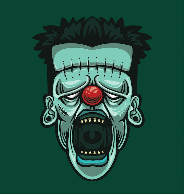 Clown hoofd illustratie Premium Vector