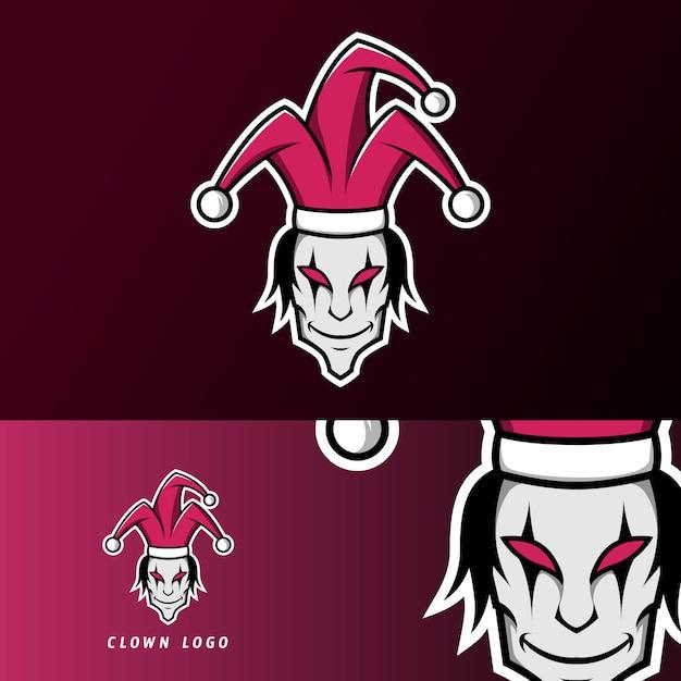 Clown joker enge masker mascotte gaming sport esport logo sjabloon Premium Vector