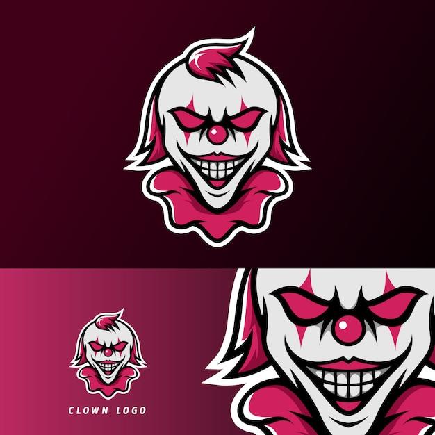 Clown joker enge masker mascotte sport esport logo sjabloon Premium Vector