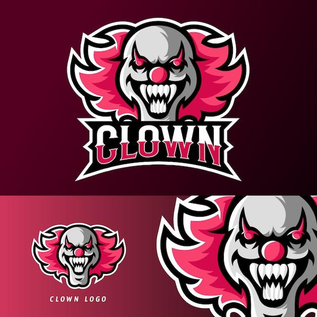 Clown masker sport of esport gaming mascotte logo sjabloon Premium Vector