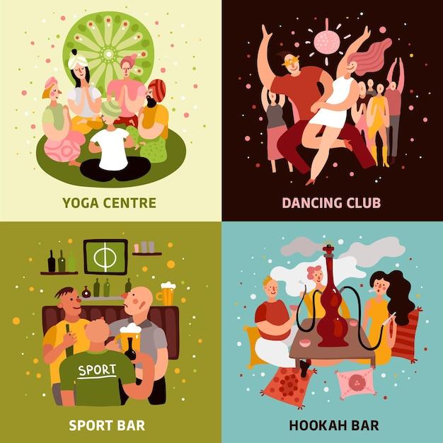 Club party concept pictogrammen die met sportbar symbolen plat geïsoleerd Gratis Vector