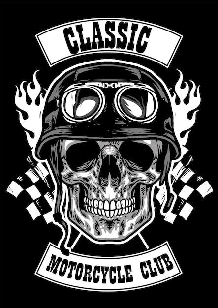 Clubkenteken met schedel die helmbeeld dragen Premium Vector