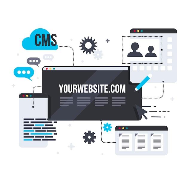 Cms-concept in platte ontwerp illustratie Gratis Vector