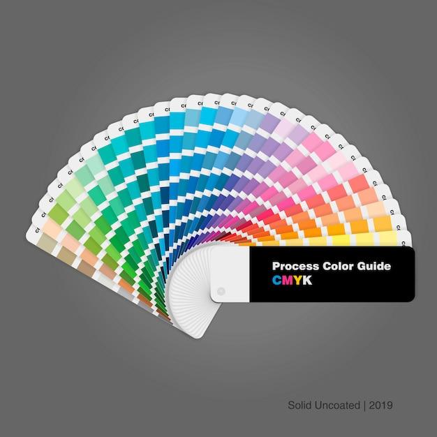 Cmyk-proceskleurenpaletgids voor afdrukken en ontwerpen Premium Vector