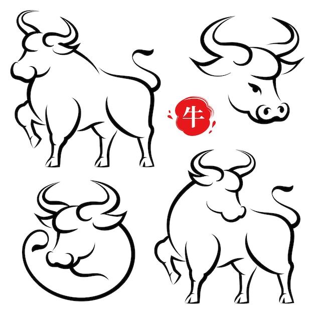 Cny handgetekende koeien set, chinese kalligrafie stijl, metalen os tekstvertaling. chinees nieuwjaar banner poster wenskaartsjabloon met hand getrokken stier dier. maankalender horoscoop dier Premium Vector
