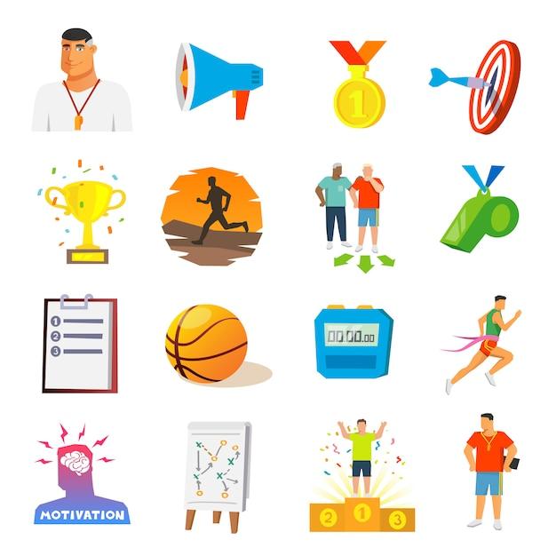 Coaching en sport vlakke pictogrammen Gratis Vector