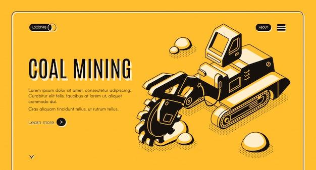 Coal mining webbanner met emmer-wiel graafmachine werken in steengroeve lijntekeningen Gratis Vector