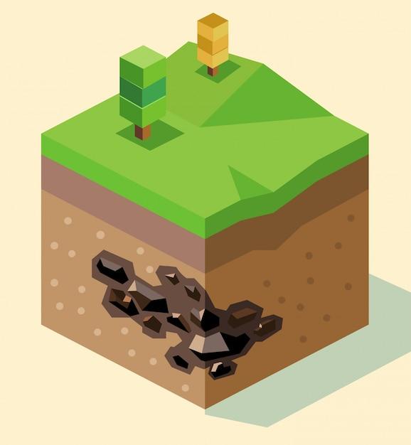Coal reserve isometrisch Premium Vector