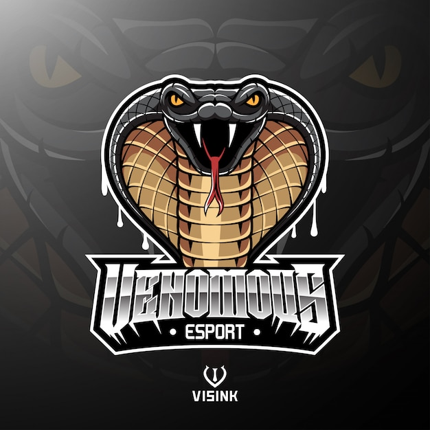 Cobra hoofd mascotte logo ontwerp Premium Vector