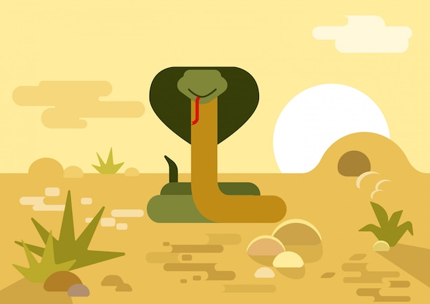 Cobra slang hol woestijn platte cartoon Gratis Vector