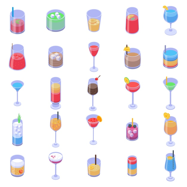 Cocktail iconen set, isometrische stijl Premium Vector