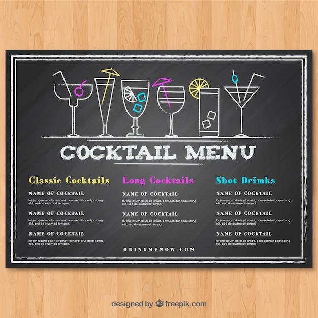 Cocktail menusjabloon in schoolbord stijl Gratis Vector