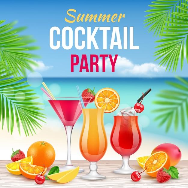 Cocktail party poster. uitnodiging voor het drinken van alcohol zomerfeest martini whisky margarita realistische plakkaat Premium Vector