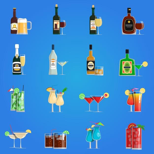 Cocktail pictogrammen platte set Gratis Vector