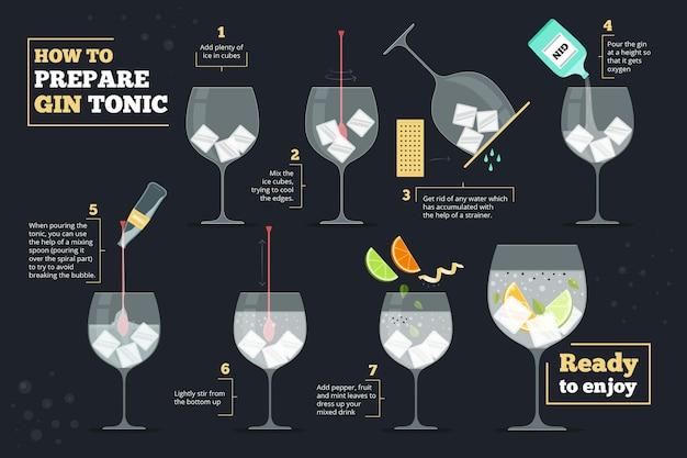Cocktail recept concept Gratis Vector