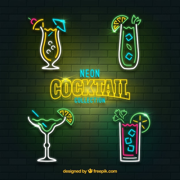 Cocktailcollectie met neonlichtstijl Gratis Vector