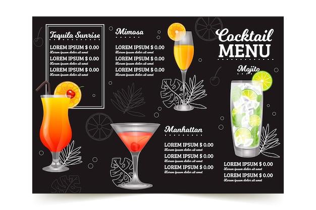Cocktailkaart concept Gratis Vector
