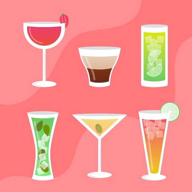 Cocktailpakket met plat ontwerp Gratis Vector