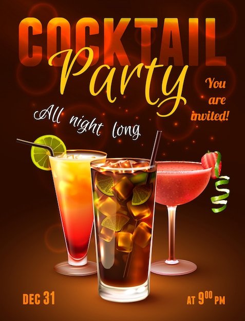 Cocktailparty-poster Gratis Vector