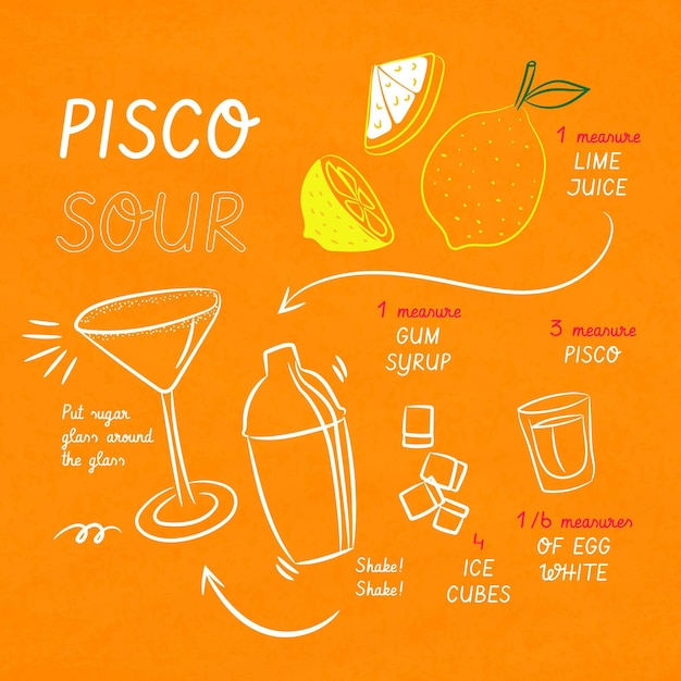 Cocktailrecept voor pisco sour Gratis Vector