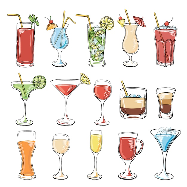 Cocktails collectie. vector set Premium Vector